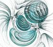 fractal blue smoky marbles - 163642561
