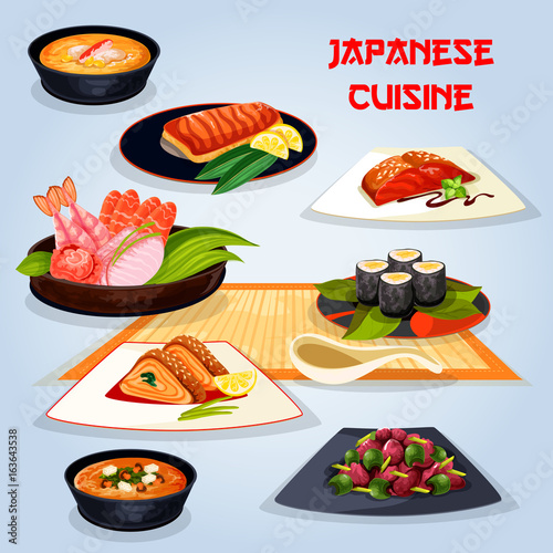 Japanese cuisine popular dishes for lunch icon - 163643538