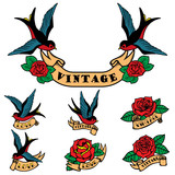 Set of tattoo templates with swallows and roses. Old school tattoo. Vector illustration - 163644750