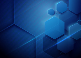Blue abstract technology digital hi tech concept background. Space for your text
