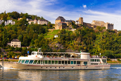 Romantic river cruises over Rhein with famous medieval castles. Germany