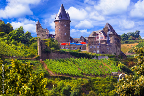 Romantic Rhine Valley river with gorgeous castles. Travel in Germany series