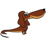 vector color sketch of carton dachshund dog