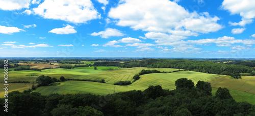 Landschaft mit Hügeln und Getreidefeldern Panorama