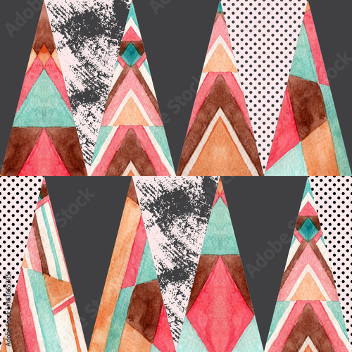 Watercolor ornate triangles seamless pattern. - 163665385