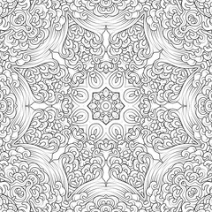 design coloring page, black and white mandala, vector