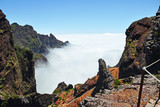 Madeira mountains in clouds.