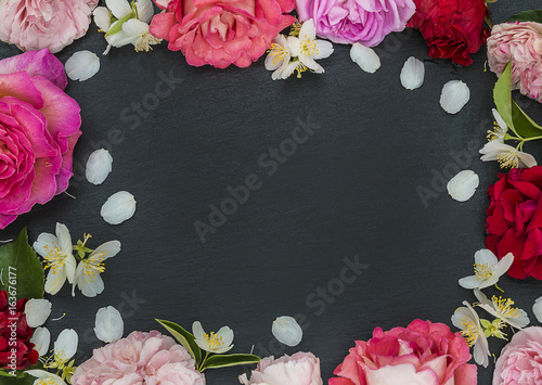 beautiful rose flowers frame on slate with copy space