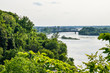 Skyline or cityscape of Hull in Gatineau, Quebec with river and bridges in Ottawa, Canada