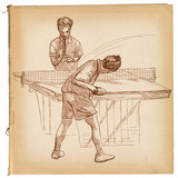 Sport, Table tennis, Ping-Pong. An hand drawn, line art, picture. - 163678978