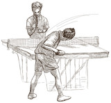 Sport, Table tennis, Ping-Pong. An hand drawn, line art, picture. - 163678991