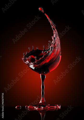 red wine glass on black background - 163679756