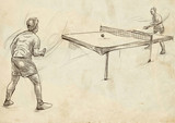 Sport, Table tennis, Ping-Pong. An hand drawn, line art, picture.