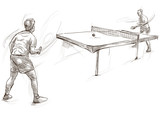 Sport, Table tennis, Ping-Pong. An hand drawn, line art, picture. - 163680197
