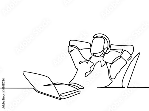 continuous line drawing businessman thinking and dreaming with his Stress and Thinking continuous line drawing businessman thinking and dreaming with his laptop on white background vector