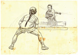 Sport, Table tennis, Ping-Pong. An hand drawn, line art, picture. - 163682119
