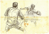 Sport, Table tennis, Ping-Pong. An hand drawn, line art, picture. - 163682399