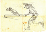 Sport, Table tennis, Ping-Pong. An hand drawn, line art, picture. - 163682590