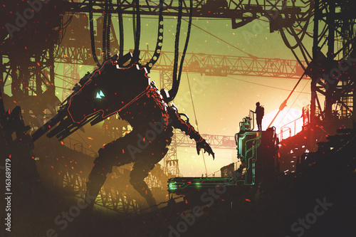 man operating the robot with remote control in industrial factory, digital art style, illustration painting