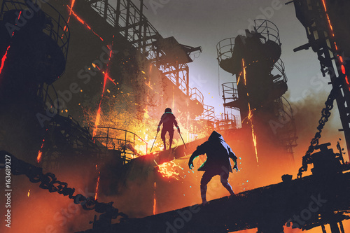 sci-fi scene showing fight of two futuristic warriors in industrial factory, digital art style, illustration painting © grandfailure