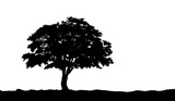 tree on the hill silhouette on an isolated background. Vector illustration eps10.