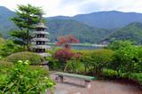 Spokojny ogród japoński i tradycyjna architektura