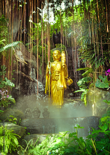 Golden Buddha on green jungle background
