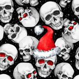 Watercolor seamless pattern with sketchy skulls in Santa hat. Cretive New Year. Celebration illustration. Can be use in winter holidays design, posters, invitations. - 163708370