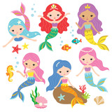 Cute Mermaid Princess  Colorful Hair And Other Under The Sea Elements Wall Sticker
