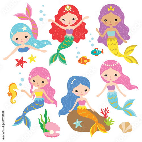 Vector illustration of cute mermaid princess with colorful hair and other under the sea elements.