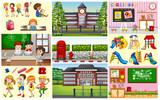 Children in classroom and school