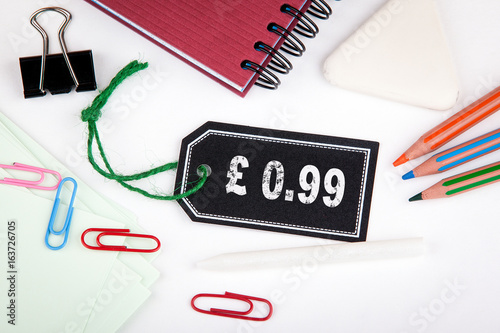 0.99 pound pence. Price tag with string on a white background. Poster