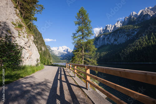 Summer alpine mountain lake landscape