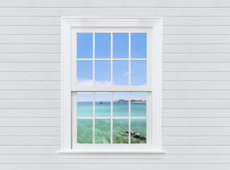 view seascape from white wooden window and wall, pattaya city, thailand
