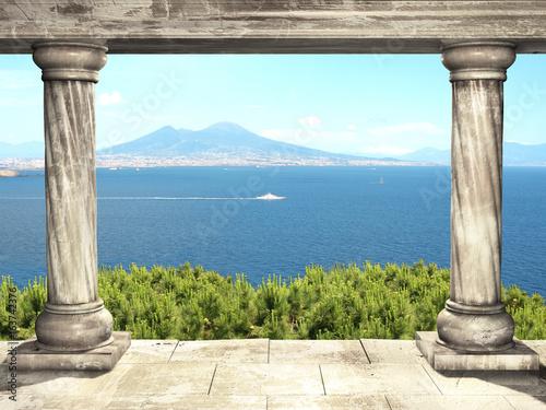 Columns and top view on volcano Mount Vesuvius, Italy