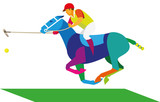 A rider on a horse is a player in a horse polo with a stick and a ball - 163742908
