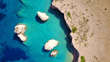 Aerial drone photo of Glaronisi island with clear turquoise waters, Cyclades, Greece - 163744324