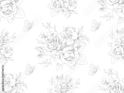 Seamless beautiful pattern with floral motivies and butterflies in French style 4 - 163746732