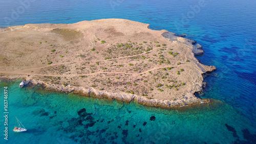Aerial drone photo of famous Pori beach, Koufonissi island. Cyclades, Greece