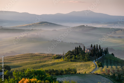 Tuscany landscape in the morning fog