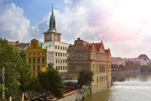 Poster Prague - the old city and Vltava Embankment, the Czech Republic..