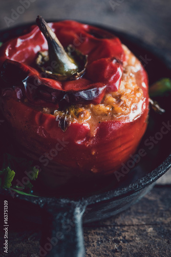 Served stuffed peppers - 163751309