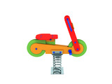 Playground spring motorcycle 3d render on white background no shadow