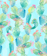 Watercolor cactus seamless pattern - 163752960