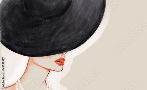 Woman in hat. Fashion illustration
