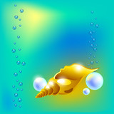 Vector illustration with golden beautiful seashell and peals