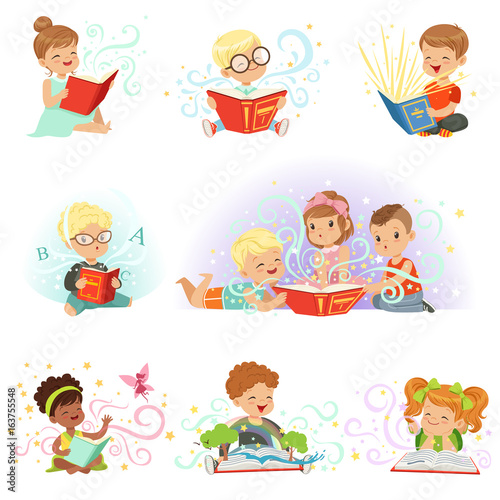 Adorable little boys and girls sitting and reading fairy tales set. Kids fabulous imagination vector illustrations © topvectors