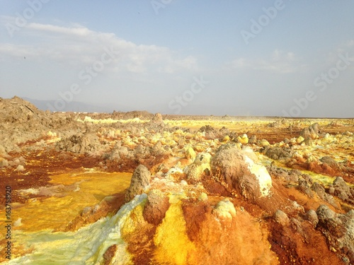 Deurstickers Zwavel geel Volcan Dallol, Ethiopie