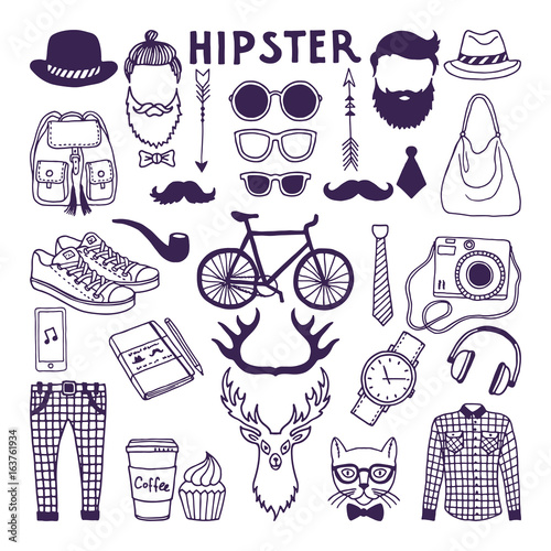 Fotobehang Hipster Hert Hand drawn style doodle set of hipster elements. Vector illustrations set