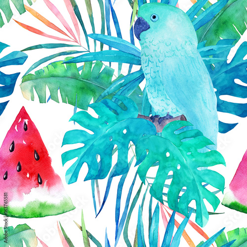 Summer pattern with watercolor parrot, palm leaves and watermelon on white background. Hand drawn illustration - 163765581